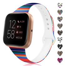 TSAAGAN Pattern Printed Slim Silicone Band Compatible with Fitbit Versa 2/Versa/Versa Lite, Fadeless Floral Thin Replacement Strap Wristband for Fitbit Versa 2 Smart Watch (Small, Rainbow)