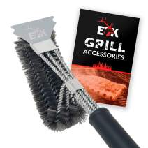 "ELK Grill Brush and Scraper BBQ Brush for Grill, Safe 17"" Stainless Steel Woven Wire 3 in 1 Bristles Grill Cleaning Brush for Weber Gas/Charcoal Grill"