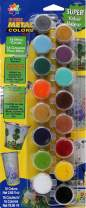 Delta Creative Paint Pots Set with 16 Metal Colors and Brush,