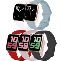 VATI 5-Pack Sport Bands Compatible with Watch Bands 40MM 38MM S/M, Soft Silicone Watchbands Replacement Strap Compatible for Watch Series SE/6/5/4/3/2/1 (Black/White/Pink Sand/Red/Turquoise)