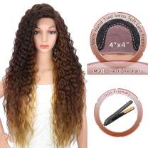 """Kalyss 28 Inches 4x4"""" Multi Directional Parts Synthetic Lace Front Wigs for Black Women Heat Resistant Curly Wavy Free Parting 150% Density Frontal Lace Multi Ombre Brown Wigs with Baby Hairs"""