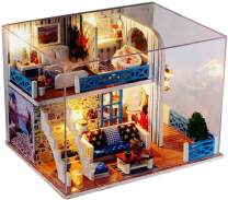 Christmas Miniature Dollhouse Kit, DIY Seaview Doll House with LED Light, Music Box, Wooden Furniture and Dust Cover, Birthday Halloween Thanksgiving for Teens, Friends, Lovers