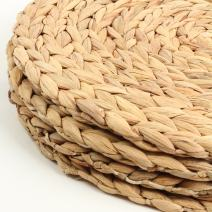 """Koyal Wholesale Water Hyacinth Placemats, 13"""" Round Mat Weave Charger Plates, Set of 4, Eco Friendly Tropical Wedding or Home Decor"""