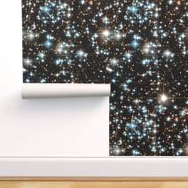 Spoonflower Pre-Pasted Removable Wallpaper, Galaxy Space Stars Universe Outer Nebula Star Black and Print, Water-Activated Wallpaper, 12in x 24in Test Swatch