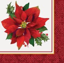 Holly Poinsettia Holiday Beverage Napkins, 16ct