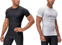 DEVOPS Men's 2~3 Pack Cool Dry Athletic Compression Short Sleeve Baselayer Workout T-Shirts