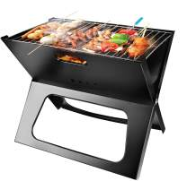 Moclever Portable Charcoal Grill, Space-Saving & Foldable BBQ Barbecue Grill, Large Grilling Surface and Capacity Grill for Camping, Travel, Garden, Outdoor