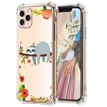 Hepix iPhone 11 Pro Sloth Case, Cute Funny Sloth Hanging on Tree Design 11 Pro Cases, Slim Fit Soft TPU Protective Clear 11 Pro Case with Four Bumpers Anti-Scratch for iPhone 11 Pro 2019