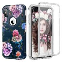 ELOVEN Case for iPhone Xs Max Case with Screen Protector Clear Built in Full Body Rugged Protection Dual Layer Shockproof Protective Hard Plastic Soft TPU Case for iPhone Xs Max, Colorful Rose Flower
