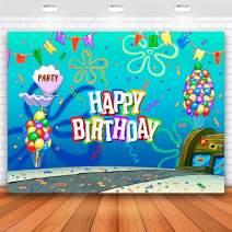 Allenjoy 5x3ft Spongebob Birthday Backdrop Summer Happy Birthday Backdrop Colorful Balloons Flag Birthday Backdrop for Boys