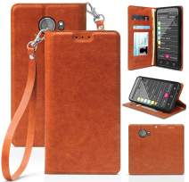 Case for Jitterbug Smart2, [Brown] Folio Leather Wallet Credit Card Slot ID Cover, View Stand [with Subtle Magnetic Closure and Wrist Strap Lanyard] for GreatCall Jitterbug Smart2 Phone