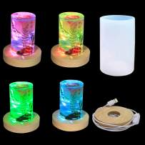 2Pcs Colorful Cylinder Light Resin Mold, LED Silicone Molds for Resin with Wooden Lighted Base Stand for Resin Art, Cylinder Candle Molds Silicone Resin Molds for Making Wax Candles DIY