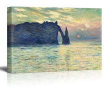 "wall26 The Cliff, Etretat, Sunset by Claude Monet - Canvas Print Wall Art Famous Painting Reproduction - 16"" x 24"""
