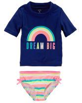 Carter's Girls' Short Sleeve Rash Guard Swimsuit Set (Baby/Toddler/Kid) (3 Months, Navy/Rainbow)