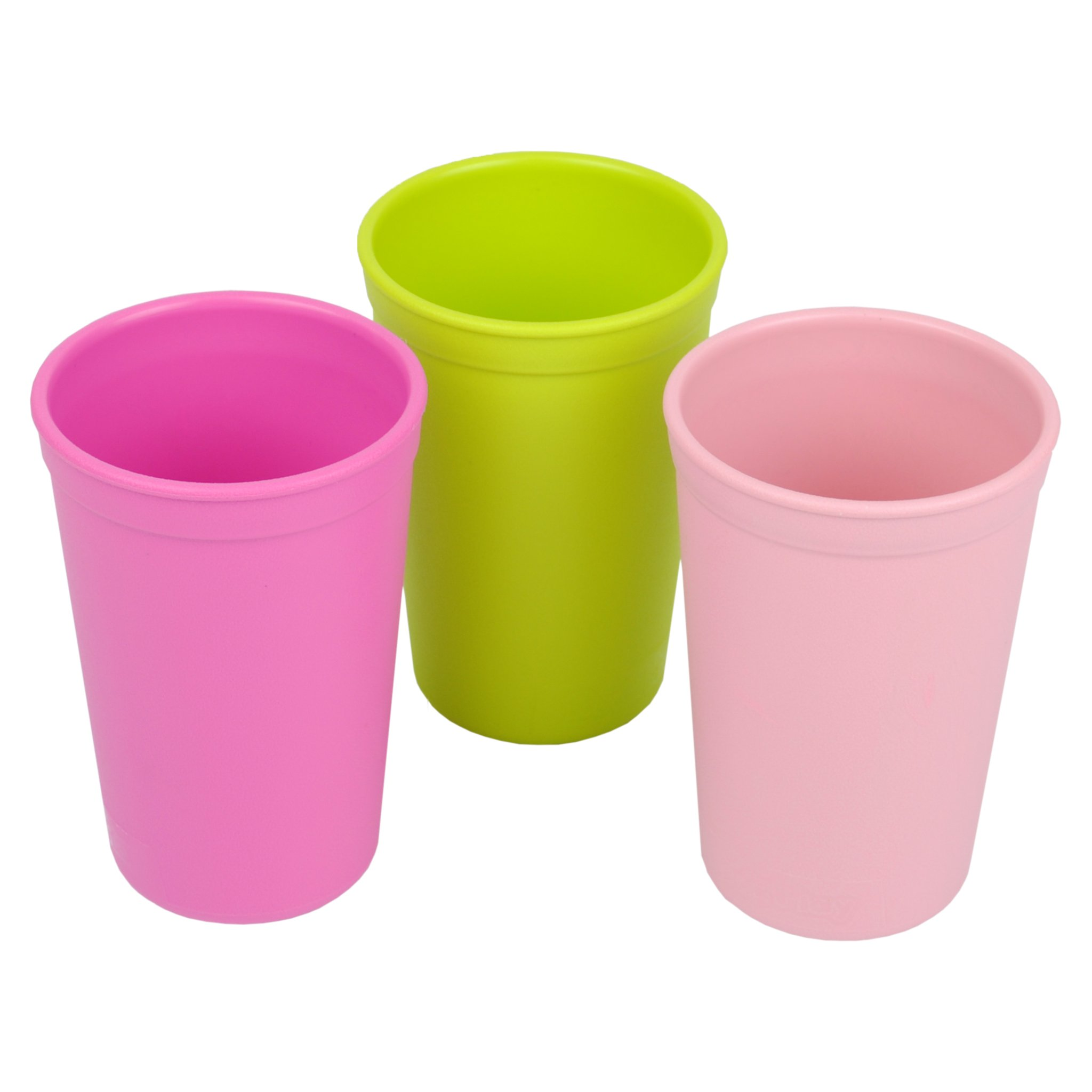 Re-Play 3pk - 9oz. Drinking Cups | Made in USA from Eco Friendly Heavyweight Recycled Milk Jugs - Virtually Indestructible | For all ages | Bright Pink, Lime Green, Blush Pink | Tulip