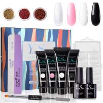 YaoShun Poly Extension Gel Kit - Enhancement Builder Gel Trial Kit Gift Box, Professional Nail Technician All-in-One 4 Colors French Kit Extension Gel Nail Gel Kit #01
