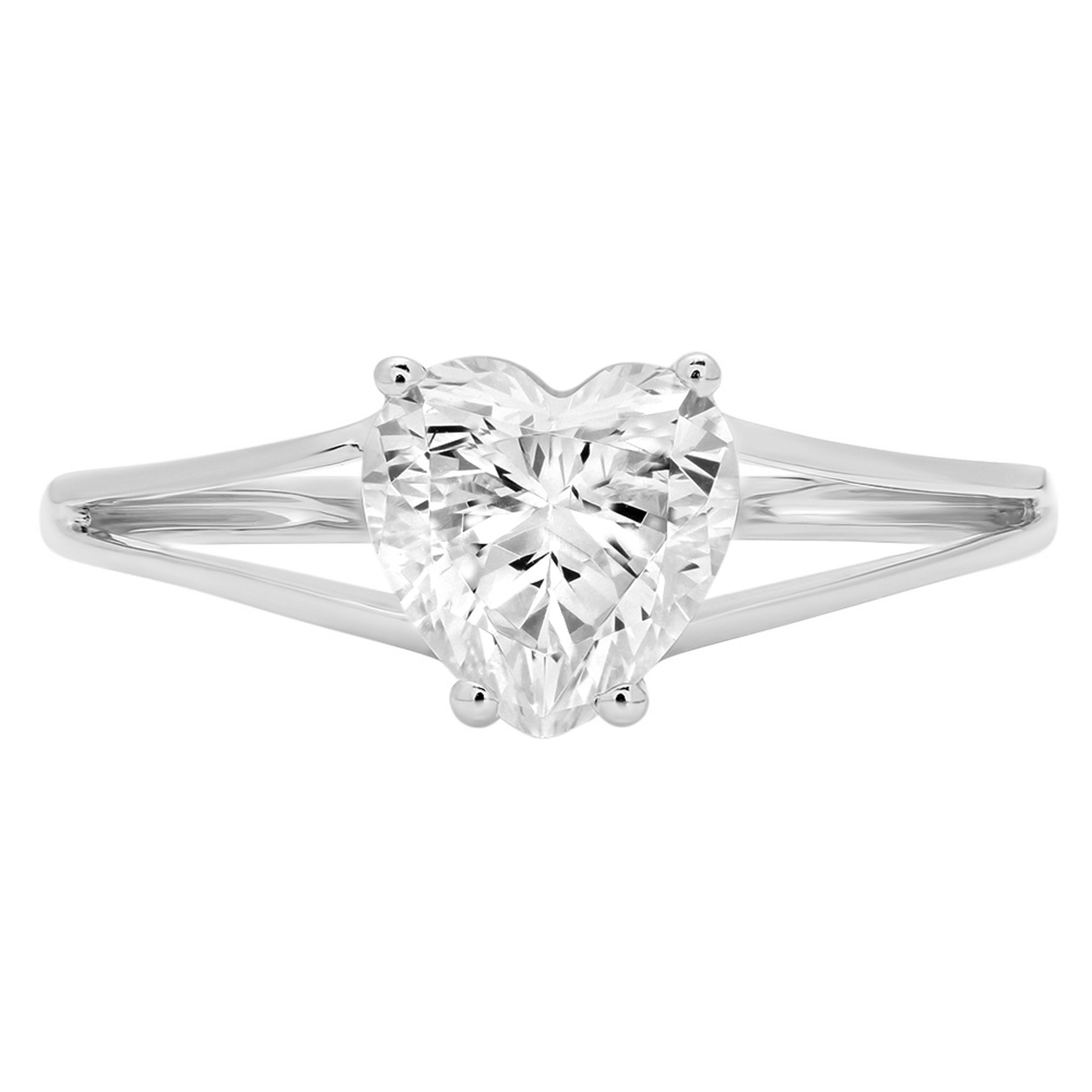 1.45ct Brilliant Heart Cut Solitaire split shank Highest Quality Lab Created White Sapphire Ideal VVS1 D 4-Prong Classic Designer Statement Ring Solid Real 14k White Gold for Women