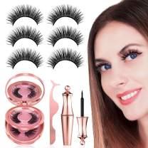 Magnetic Eyelashes with Eyeliner Kit, 【3 Pairs】Reusable Magnetic Eyelashes Full Eye, Come with Mirror and Tweezers, No Glue False Lashes, Easier To Use Than Traditional False Eyelashes