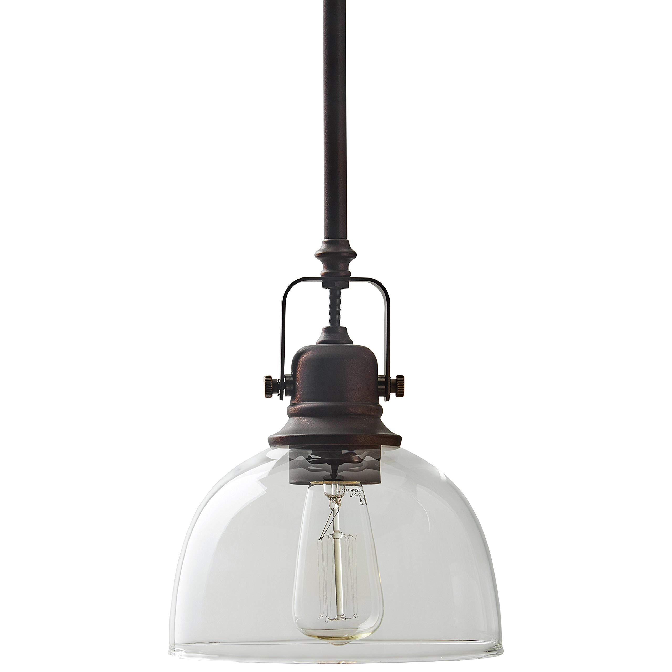 Amazon Brand – Stone & Beam Vintage Ceiling Pendant Lighting Fixture With Light Bulb And Clear Glass Shade - 7 x 7 x 17.25 Inches, 11.75 - 59.25 Inch Cord, Oil Rubbed Bronze
