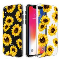 Caka iPhone X Xs Case, iPhone Xs Clear Floral Case Flower Pattern Slim Girly Anti Scratch Premium Clarity Crystal TPU Bumper Protective Case for iPhone X Xs (Sunflower)