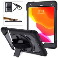 SUPFIVES iPad Mini 5/4 Case, Three Layer Hybrid Drop Protection Case with 360 Rotating Stand+Shoulder Strap+Hand Strap+Pencil Holder Carrying Case for iPad Mini 4th/5th Generation 7.9 inch (All Black)