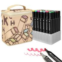 ioiomarker 40 Vibrant Colors Alcohol Markers Set Double Tips Art Drawing Permanent Marker Pen with Leather Cartoon Carrying Base for Kids/Adults/Profession Designer(Animation Design)