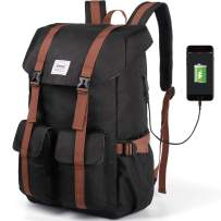 """Back to School Backpack, Great for School and College, with 17"""" Computer/Tablet Sleeve, Black (Black)"""