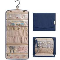BAGSMART Travel Hanging Jewelry Organizer Case Foldable Jewelry Roll with Hanger for Journey-Rings, Necklaces, Bracelets, Earrings, Smokey Blue