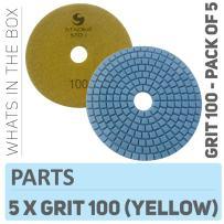 Stadea PPW137D Diamond Sanding Pads 4 Inch - For Concrete Terrazzo Marble Stone Granite Countertop Floor Wet Polishing, Grit 100 - Pack of 5