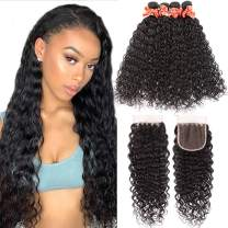 Wet and Wavy Human Hair Weave Bundles Unprocessed Virgin Brazilian Hair Water Wave 4 Bundles With 4X4 Lace Closure (18 20 22 24 +16 Closure) Human Hair Extensions Can be Dyed