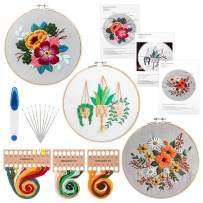 Embroidery Starter Kit with Pattern and Instructions, Paxcoo Cross Stitch Beginner Kits with 3 Embroidery Clothes, 3 Bamboo Embroidery Hoops, Color Threads and Needles