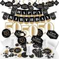 Big Dot of Happiness Adult 50th Birthday - Gold - Birthday Party Supplies - Banner Decoration Kit - Fundle Bundle