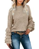 Lynwitkui Women's Ruffle Sweater Puff Long Sleeve Crew Neck Pullover Lightweight Knitted Crop Top