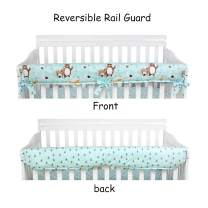 Brandream Baby Boys Crib Rail Cover with Woodland Animal, Organic Cotton Long Front Crib Rail Guards, Protector Safe Teething Guard Wrap with Bear Deer Fox Print for Nursery Bedding