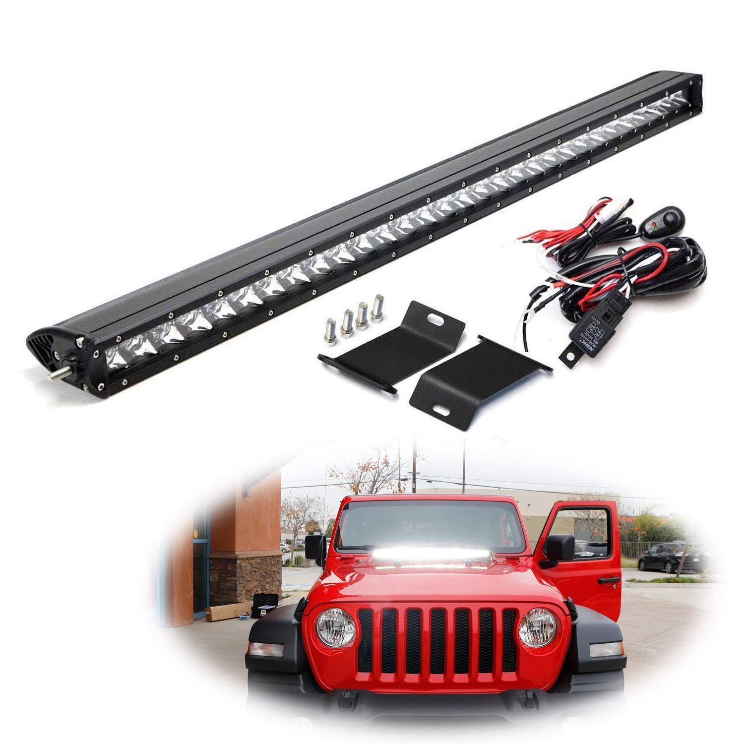 iJDMTOY Hood Mount 30-Inch LED Light Bar Kit Compatible With 2018-up Jeep Wrangler JL, Includes (1) 150W High Power CREE LED Lightbar, Hood Mounting Brackets & On/Off Switch Wiring Kit