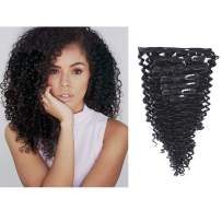 Anrosa Afro Kinky Clip in Human Hair 1B Natural Black Afro Kinky Curly Clip in Hair Extensions for Black Women 3C 4A Type Real Remy Hair Thick 120 Gram 10-22 Inch (12 Inch, Jerry Curly #1B)