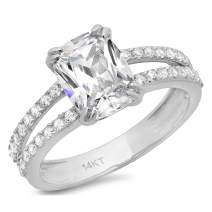 3.50 ct Brilliant Cushion Cut Solitaire with accent Best Quality Moissanite Ideal VVS1 D & Simulated Diamond Engagement Promise Statement Anniversary Bridal Wedding Accent Ring Solid 14k White Gold