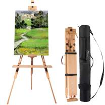"""MEEDEN Tripod Field Painting Easel with Carrying Case - Solid Beech Wood Universal Tripod Easel Portable Painting Artist Easel, Perfect for Painters Students, Landscape Artists, Hold Canvas up to 44"""""""