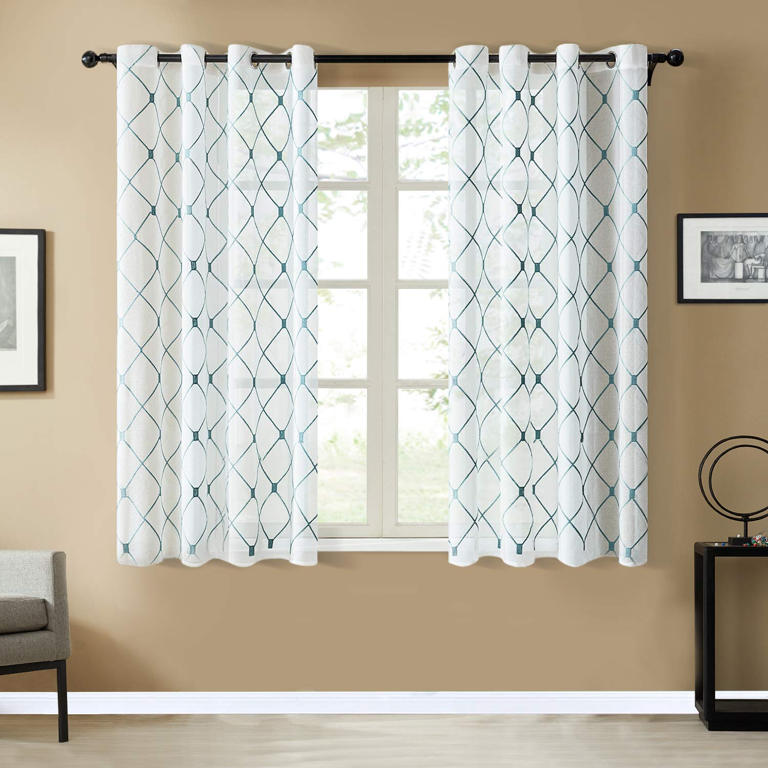 Top Finel White Short Sheer Curtains 54 Inch Length Teal Embroidered Diamond Grommet Window Curtains for Living Room Bedroom, 2 Panels