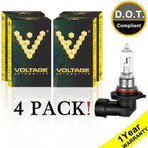 Voltage Automotive 9005 HB3 Standard Headlight Bulb (4 Pack) - OEM Replacement Halogen High Beam Low Beam Fog Lights Driving Lights