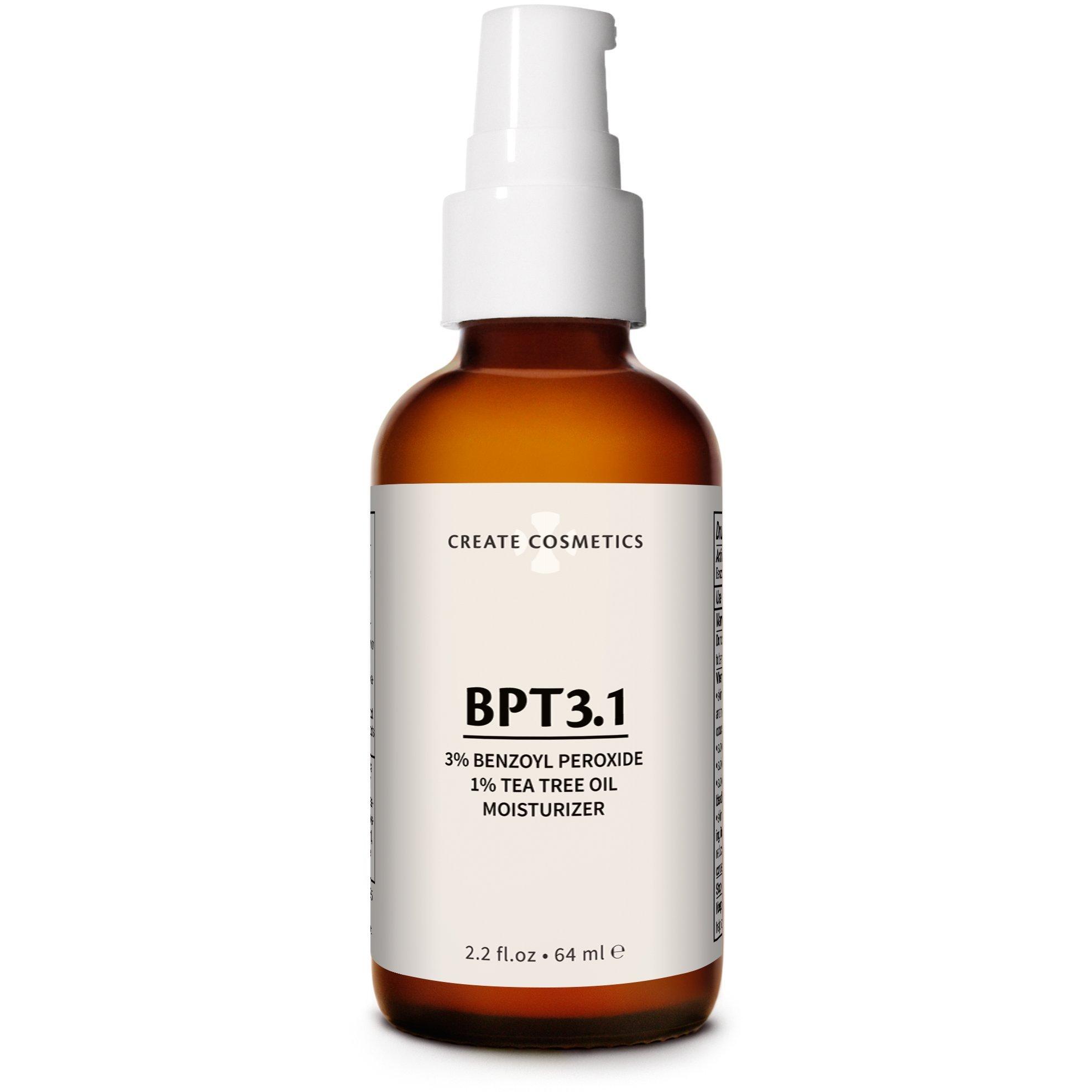 BPT3 Acne Treatment Moisturizer 3% Benzoyl Peroxide 1% Tea Tree Oil Cream 69% Organic Natural Ingredients. Face & Body, Normal & Cystic Acne 2.2 oz