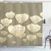 """Ambesonne Floral Shower Curtain, Pastel Beige Toned Flower Blooms Floret Buds Essence Nature Themed Illustration, Cloth Fabric Bathroom Decor Set with Hooks, 84"""" Long Extra, Taupe"""