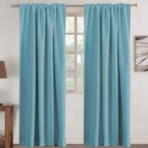 """Window Treatment Solid Blackout Curtains for Kids Room Noise Reducing Back Tab Blackout Draperies Turquoise Window Panels for Nursery & Infant Care, 2 Panel - Aqua - 52"""" W x 84"""" L"""