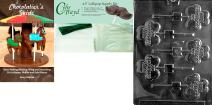 """Cybrtrayd """"Happy St. Patricks Day Clove Lolly"""" Chocolate Mold with Chocolatier's Bundle, Includes 50 Sticks, 50 Cello Bags, 50 Green Twist Ties and Chocolatier's Guide"""