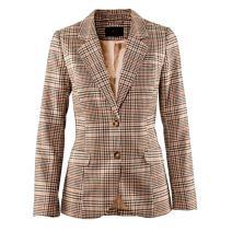 Women's Vintage Two Button Plaid Blazer Elbow Patch Slim Fit Long Blazer Jacket