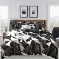 CLOTHKNOW Black Marble Comforter Set Queen Geometric Plaid Bedding Sets Full Boys Girls Teens Adults White Grey Triangle Bed Set 3pcs Bedding 1 Black Comforter with 2 Pillowcases