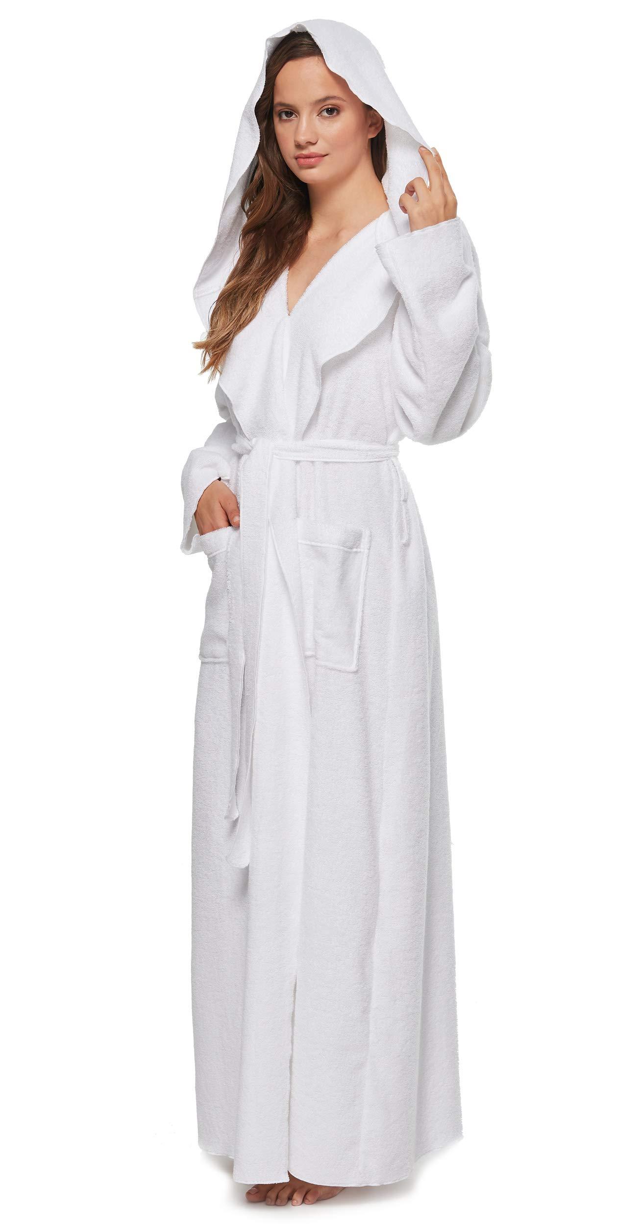 Arus Women's Princess Robe Ankle Long Hooded Silky Light Turkish Cotton Bathrobe