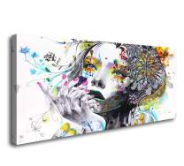 A74162 Canvas Wall Art Beautiful Flower Girl Painting Posters Print Pictures Stretched Canvas Paintings Ready to Hang for Living Room Bedroom Office Wall Decor Home Decoration