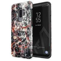 BURGA Phone Case Compatible with Samsung Galaxy S9 Plus - Volcano Island Lava Fire Black Marble Cute Case for Woman Heavy Duty Shockproof Dual Layer Hard Shell + Silicone Protective Cover