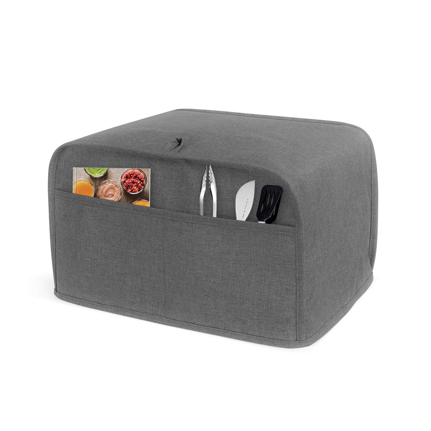 Luxja 2 Slice Toaster Cover (11 x 7.5 x 8 inches), Toaster Cover with 2 Pockets (Fits for Most Major 2 Slice Toasters), Gray